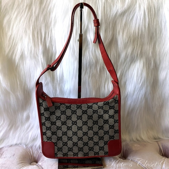 99a1df809a0055 Gucci Bags | Gg Canvas Red Leather Shoulder Bag | Poshmark